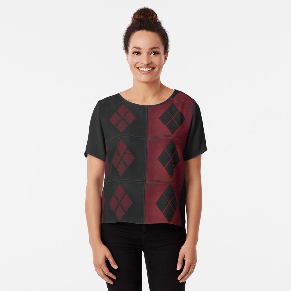 Patchwork Red & Black Leder Effekt Motley mit Diamant Patches 4 Chiffon Top