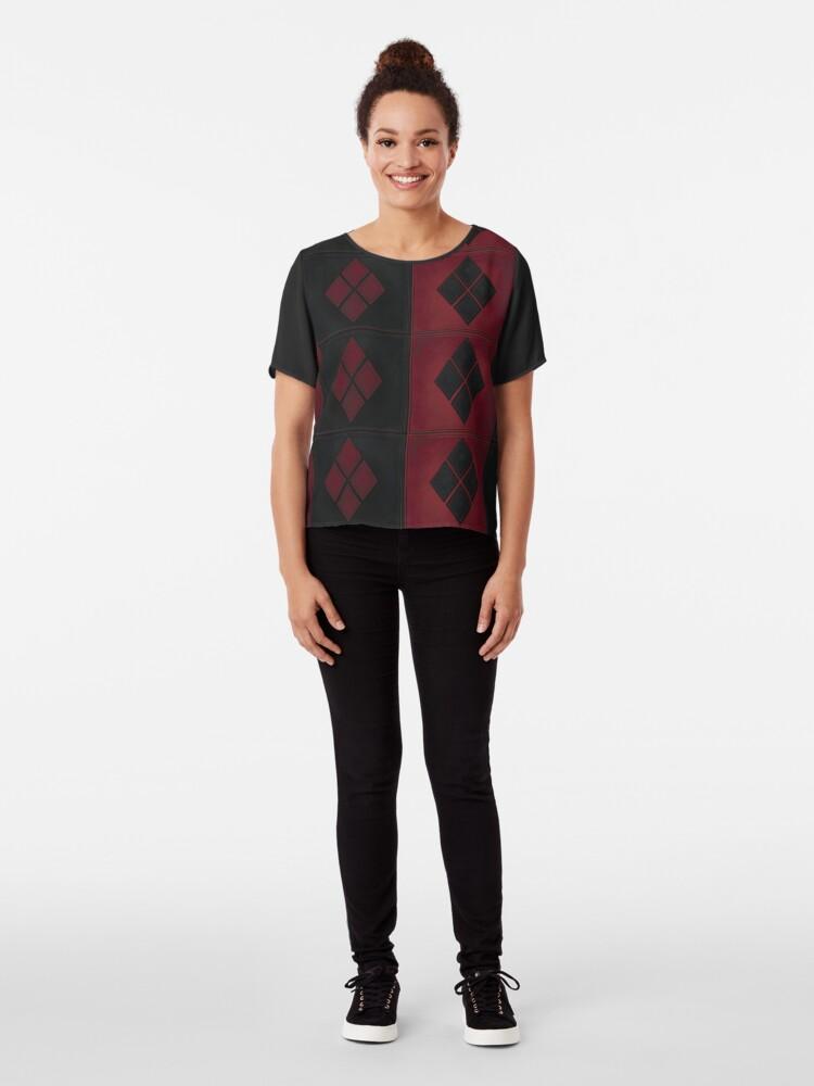 Alternative Ansicht von Patchwork Red & Black Leder Effekt Motley mit Diamant Patches 4 Chiffon Top