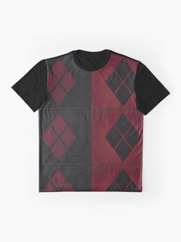 Alternative Ansicht von Patchwork Red & Black Leder Effekt Motley mit Diamant Patches 4 Grafik T-Shirt