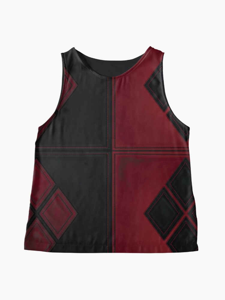 Alternative Ansicht von Patchwork Red & Black Leder Effekt Motley mit Diamant Patches 4 Ärmelloses Top