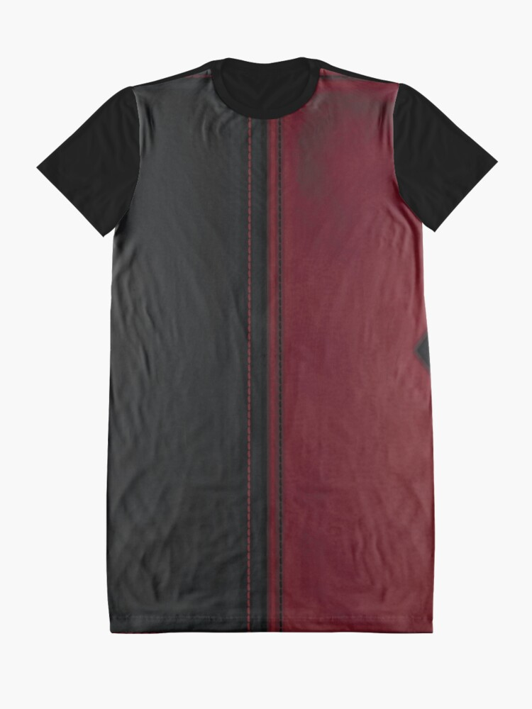 Alternative Ansicht von Patchwork Red & Black Leder Effekt Motley mit Diamant Patches 4 T-Shirt Kleid