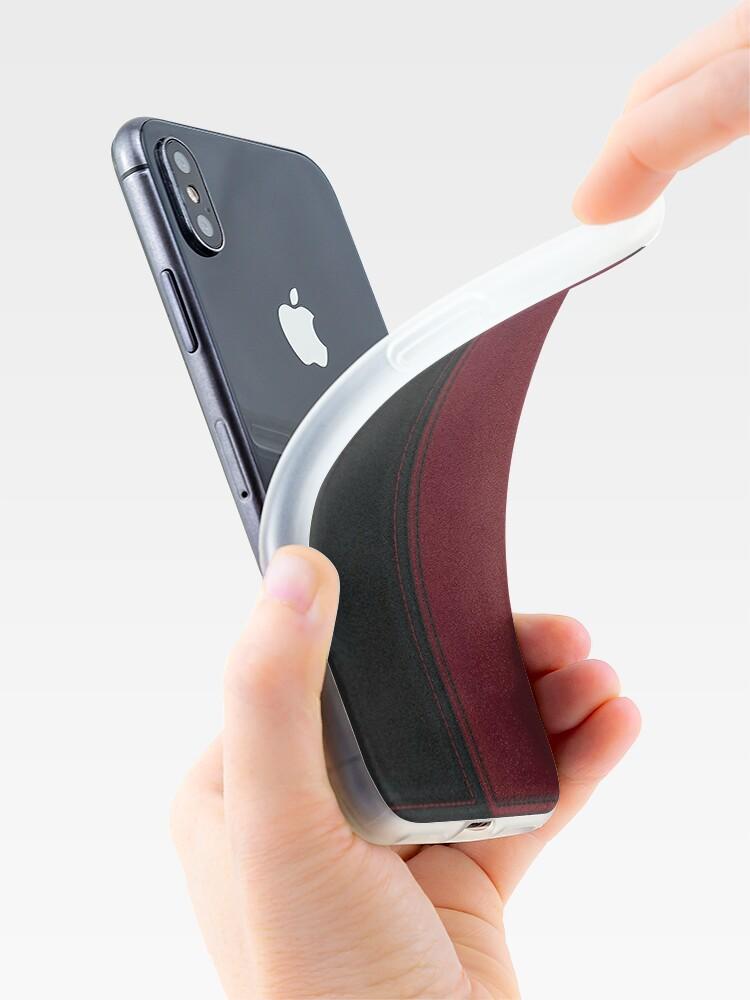 Alternative Ansicht von Patchwork Red & Black Leder Effekt Motley mit Diamant Patches 4 iPhone-Hülle & Cover