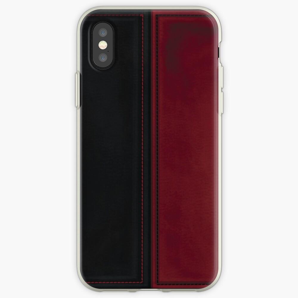 Patchwork Red & Black Leder Effekt Motley mit Diamant Patches 4 iPhone-Hülle & Cover