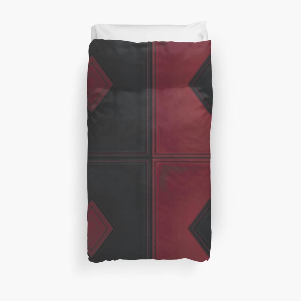 Patchwork Red & Black Leder Effekt Motley mit Diamant Patches 4 Bettbezug