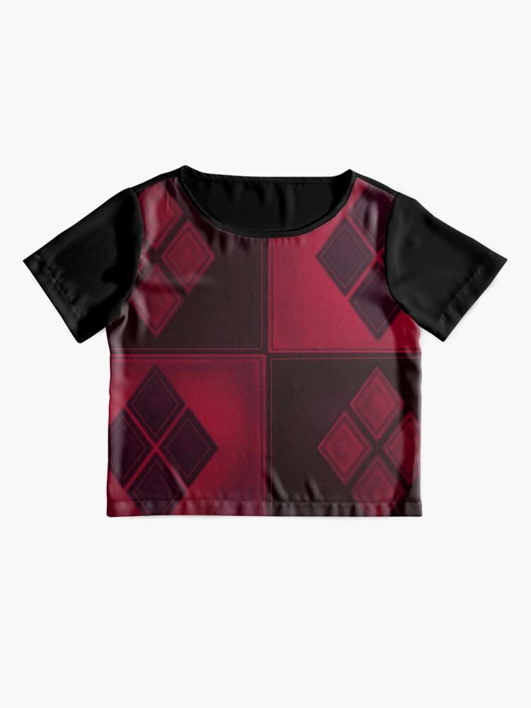 Alternative Ansicht von Patchwork Red & Black Leder Effekt Motley mit Diamant Patches 3 Chiffon Top