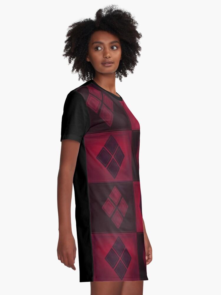 Alternative Ansicht von Patchwork Red & Black Leder Effekt Motley mit Diamant Patches 3 T-Shirt Kleid