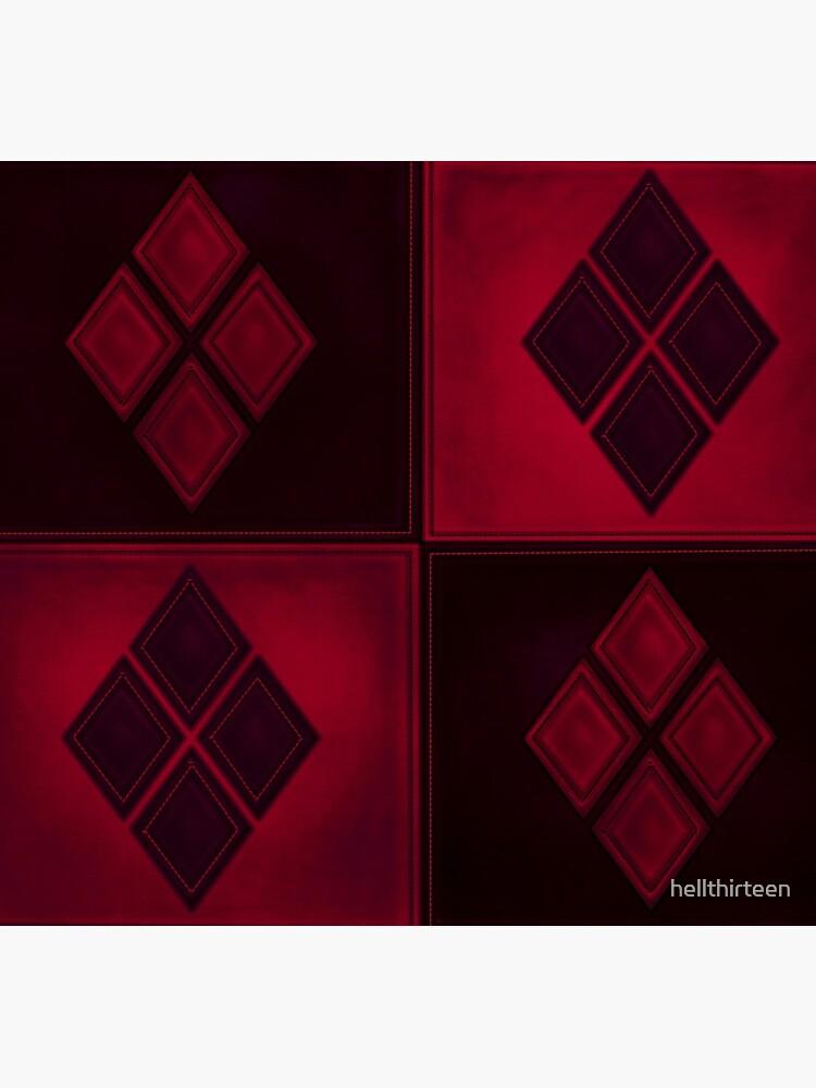 Patchwork Red & Black Leder Effekt Motley mit Diamant Patches 3 von hellthirteen
