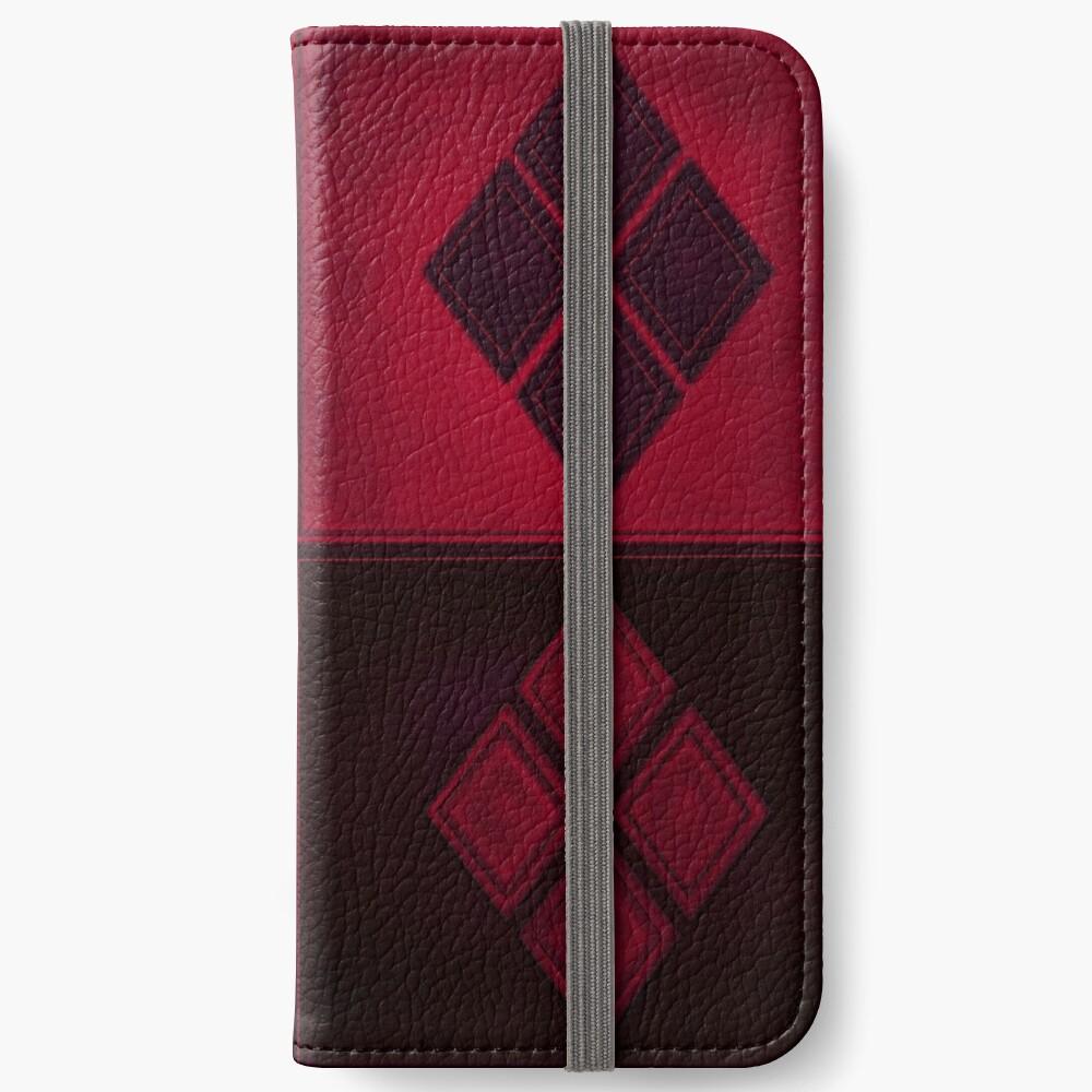 Patchwork Red & Black Leder Effekt Motley mit Diamant Patches 3 iPhone Flip-Case