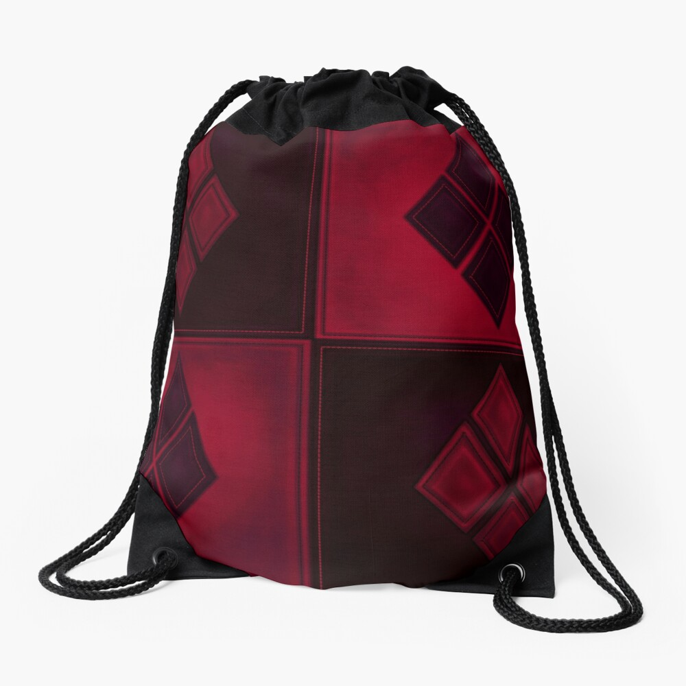 Patchwork Red & Black Leder Effekt Motley mit Diamant Patches 3 Turnbeutel