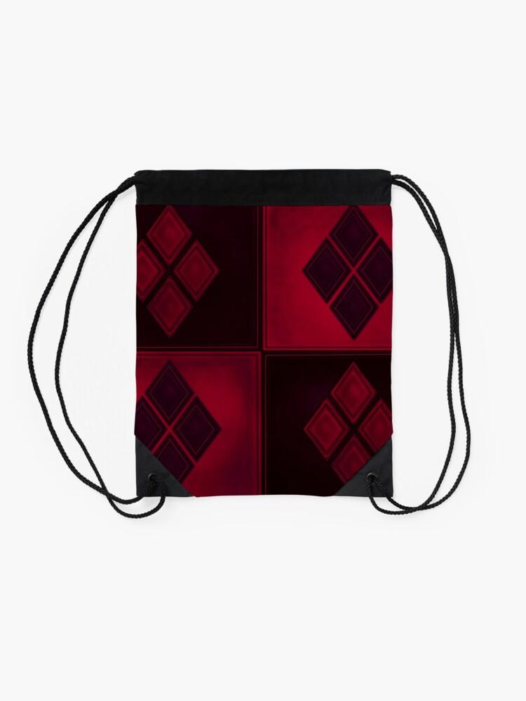 Alternative Ansicht von Patchwork Red & Black Leder Effekt Motley mit Diamant Patches 3 Turnbeutel