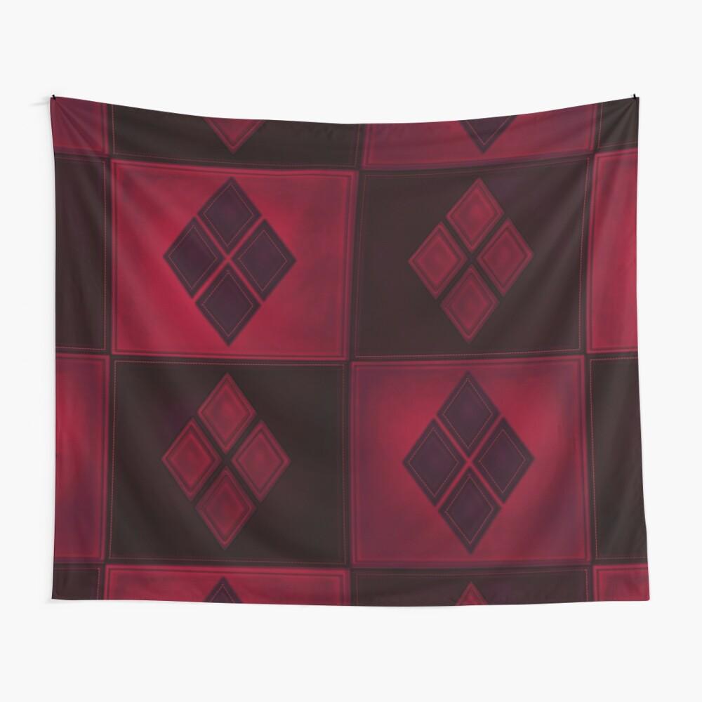 Patchwork Red & Black Leder Effekt Motley mit Diamant Patches 3 Wandbehang