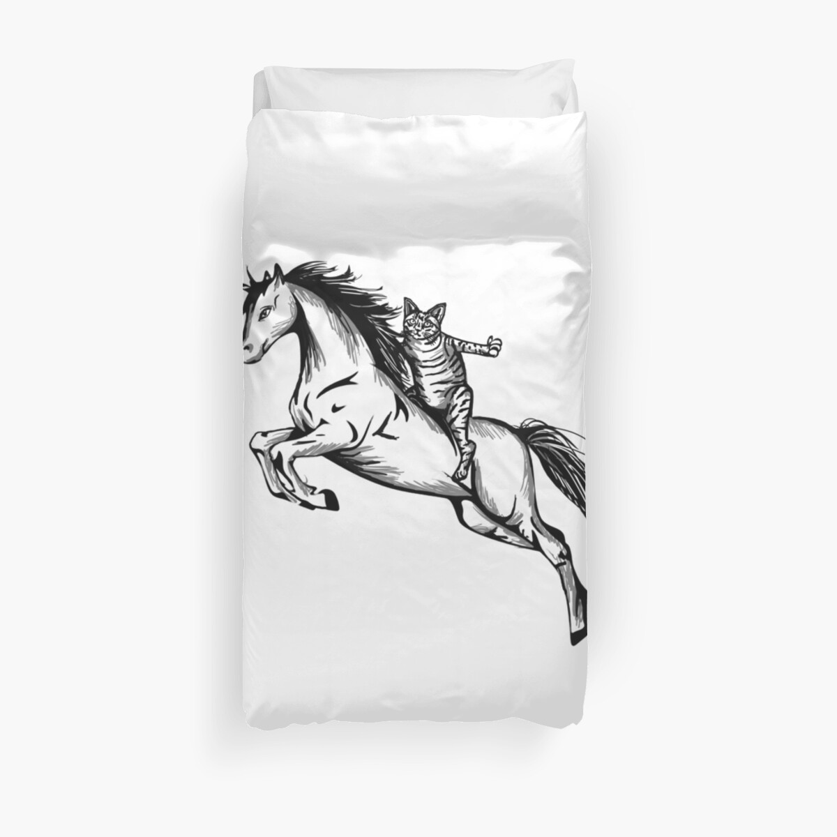 Awesome Cat Riding Unicorn Design Duvet Covers By Graphicrhythm