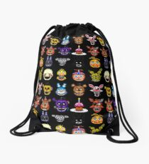 Five Nights at Freddy's - Pixel art - Multiple Characters Drawstring Bag