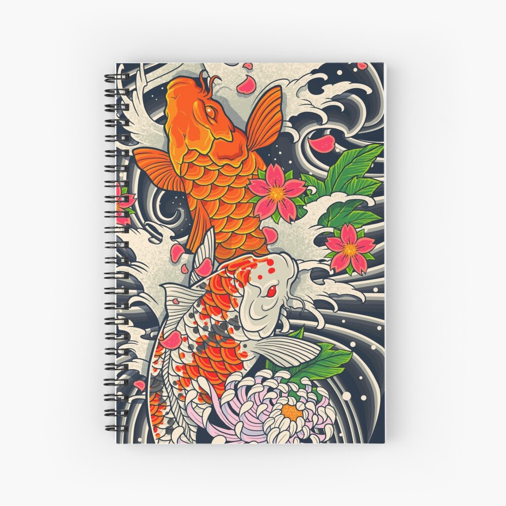Koi Fish Pond  Spiral Notebook