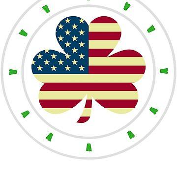 St. Patrick's Day Irish American Flag T-Shirt by unlockedhtk