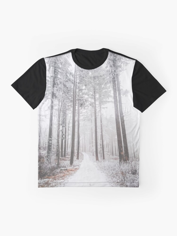 Alternate view of Mysterious road in a frozen foggy forest Graphic T-Shirt