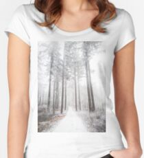 Mysterious road in a frozen foggy forest Women's Fitted Scoop T-Shirt