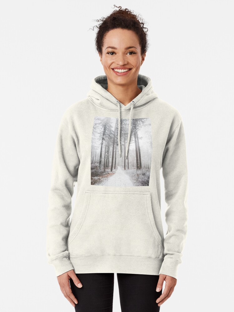 Alternate view of Mysterious road in a frozen foggy forest Pullover Hoodie