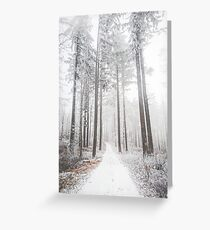 Mysterious road in a frozen foggy forest Greeting Card
