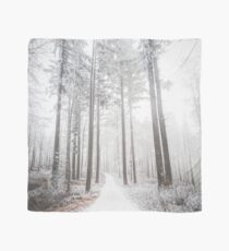 Mysterious road in a frozen foggy forest Scarf