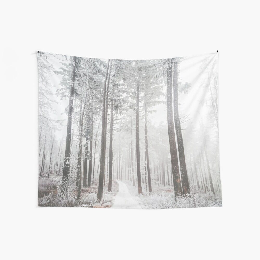 Mysterious road in a frozen foggy forest Wall Tapestry