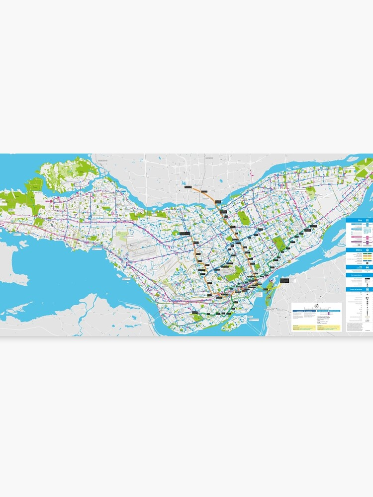 graphic relating to Printable Map of Montreal referred to as Montreal Bus and Metro Map - Canada Canvas Print
