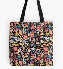 Bright floral pattern with birds Tote Bag