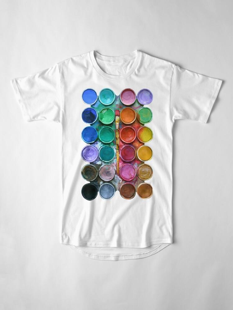 Alternative Ansicht von Aquarell Rainbow Flow Abstraktion Palette Longshirt