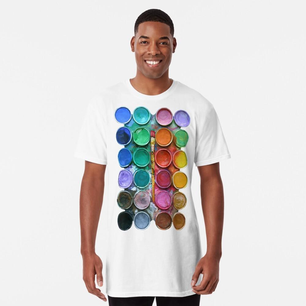 Aquarell Rainbow Flow Abstraktion Palette Longshirt