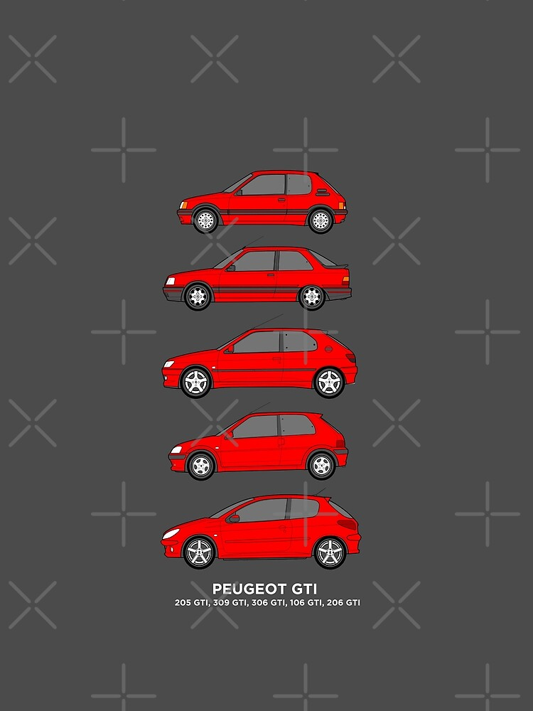 Peugeot Gti Hatchbacks Classic Car Outline Collection Graphic T