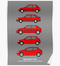 Peugeot GTI Hatchbacks Classic Car Outline Collection Poster