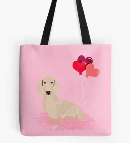 Dachshund heart balloons valentines day dog breed must have gifts dachsies  Tote Bag