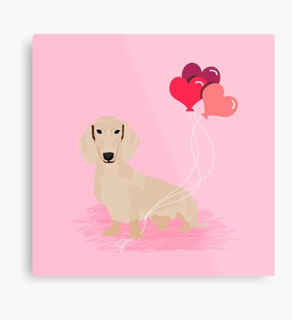 Dachshund heart balloons valentines day dog breed must have gifts dachsies  Metal Print