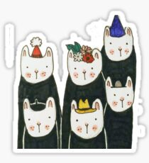 Six cute cats with hats Sticker