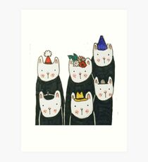 Six cute cats with hats Art Print