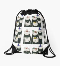 Six cute cats with hats Drawstring Bag