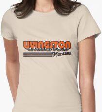 Livingston, Montana | Retro Stripes Women's Fitted T-Shirt