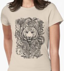 Tiger Tangle in Black and White Womens Fitted T-Shirt
