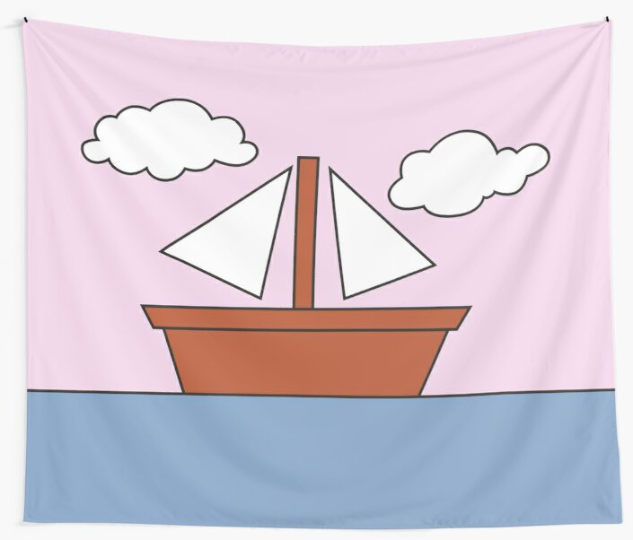 The Simpsons Living Room Boat Picture Pink Version Wall Tapestries
