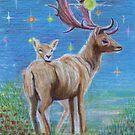 Reindeer Family by lysswhitart