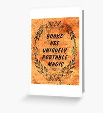 Books are Uniquely Portable Magic-Stephen King Greeting Card