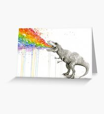 T-Rex Rainbow Puke  Greeting Card