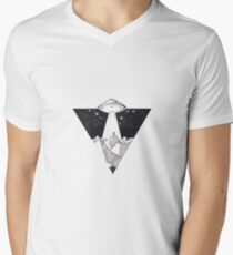 Cute Triangle UFO Illustration Men's V-Neck T-Shirt