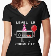 Level 19 Complete, 19th Birthday Gift Idea Women's Fitted V-Neck T-Shirt