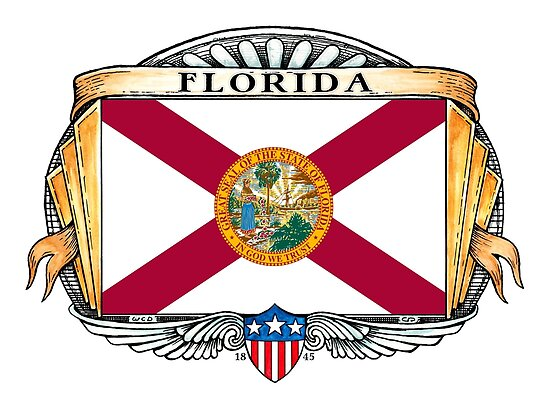 Florida Art Deco Design with Flag