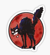 angry black cat against the world Sticker