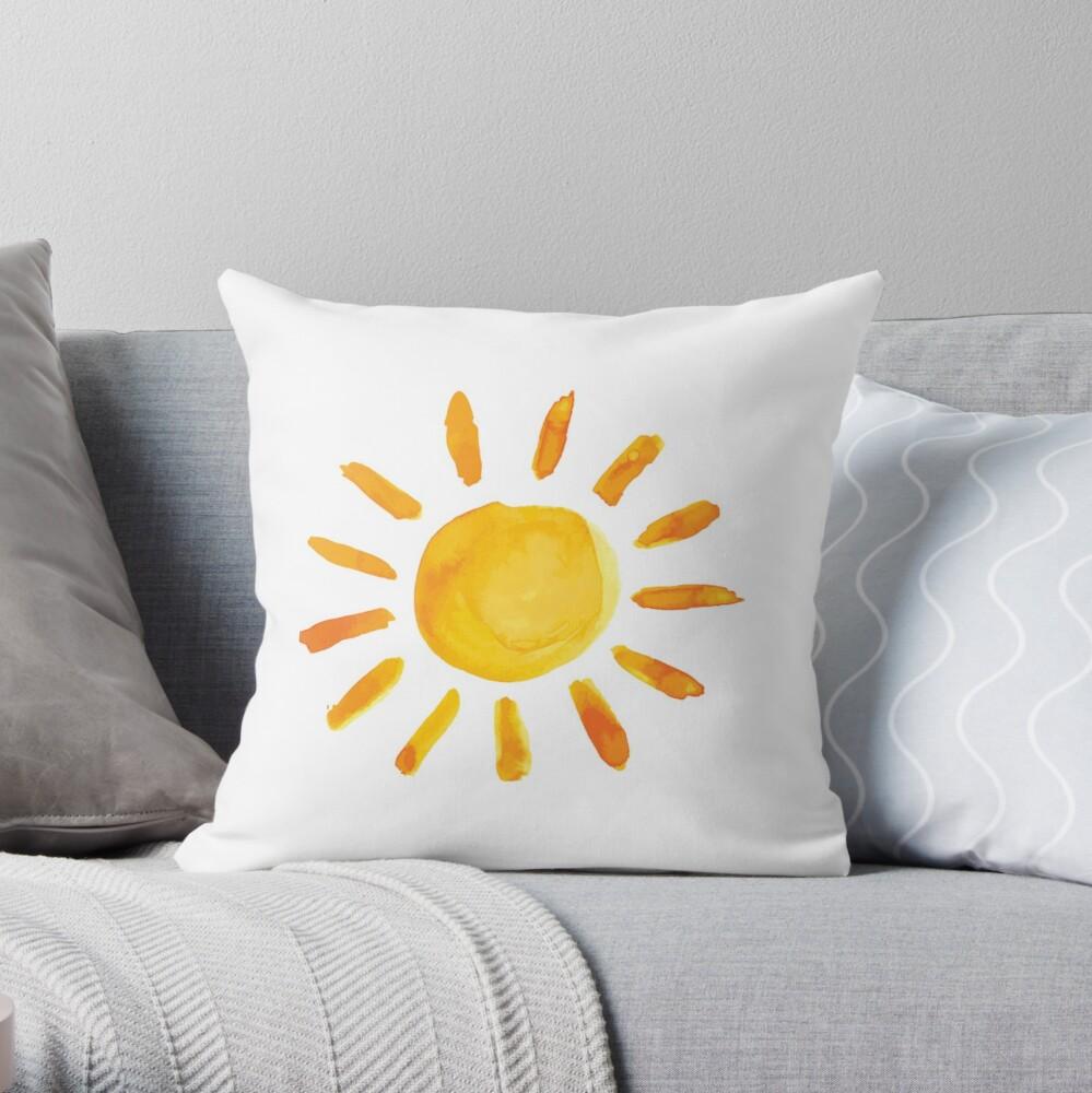 Gebürstete Aquarell gemalte Sonne Dekokissen
