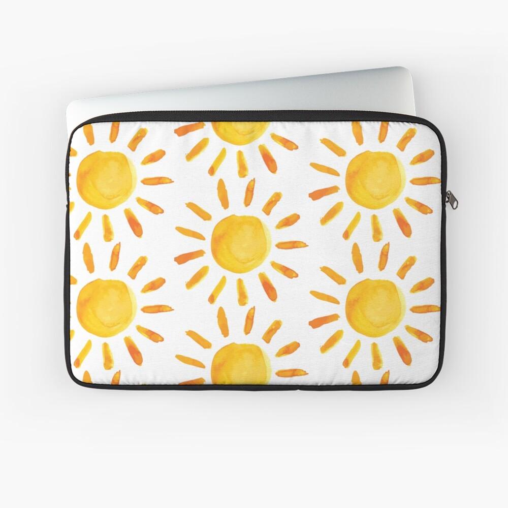 Gebürstete Aquarell gemalte Sonne Laptoptasche