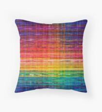 Rainbow seamless rustique fabric pattern Throw Pillow
