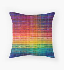 Rainbow seamless rustique fabric pattern Throw Pillow
